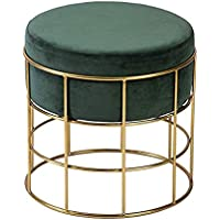 PIKIFY Perfect Posture Iron Pouffes & Ottomans Stool [Made in India] (35CM:Diameter, Forest Green)