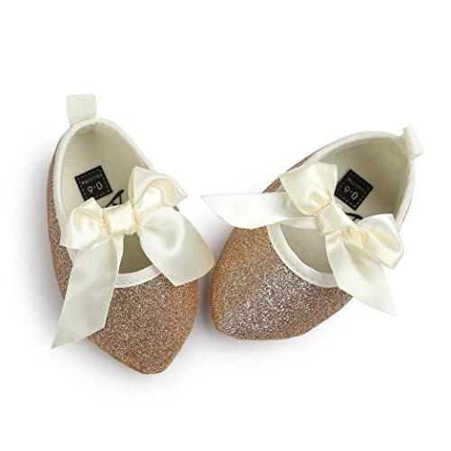 Jamicy® Baby Mädchen Bowknot weiche Sohle Prinzessin Wohnungen Glitter Gold