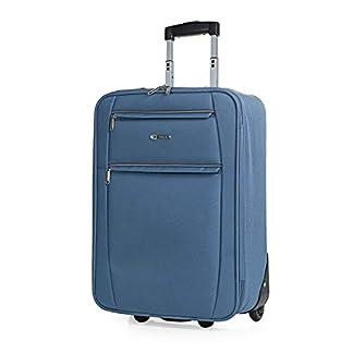 ITACA – Maleta Cabina de Viaje 2 Ruedas Trolley 55 cm de Poliéster EVA. Equipaje de Mano. Pequeña Semirígida Resistente Cómoda y Ligera. Blanda. Calidad T71950, Color Azul Vaquero
