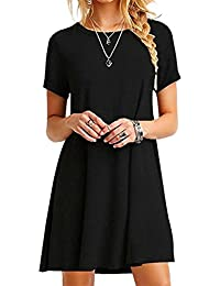 YMING Damen Casual Langes Shirt Lose Tunika Kurzarm T-Shirt Kleid 24 Farbe,XXS-XXXXXL(32-50)