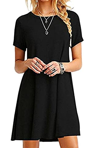 YMING Femme Robe Loose Manches Courtes Casual Tunique Style Basique T-Shirt Tops Mini Robe,Noir,S / FR 36