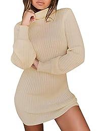 Winter warmes Strickjacke Kleid für Frauen, LSAltd Damen beiläufige lange Hülsen Strickpullover fester Rollkragen Pullover beiläufige lange Hülsen Oberseiten, die dünnes Überbrücker Minikleid stricken