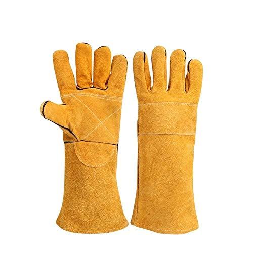 Schweißerhandschuhe hitzebeständige Handschuhe Baumwolle gefüttert mit Kevlarnähten Holzbrenner Handschuhe für Kamin, Ofen, Grill, Schweißen, Grillen, Mig, Topflappen, Tierhandling, gelb (Handschuhe Hitzebeständige Gefüttert)