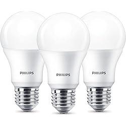 Bombilla Philips LED rosca E27, Edison, luz blanca cálida, cristal esmerilado, 8W (60W)–Luz Blanca, plástico, matt, E27, 8.5 wattsW