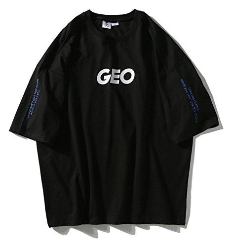 Pizoff Unisex Klassisches Strasse Style Oversized Übergrößes T-Shirt mit tifer Schalternaht Pfeile Schwarz (Adidas Galaxy Cap)
