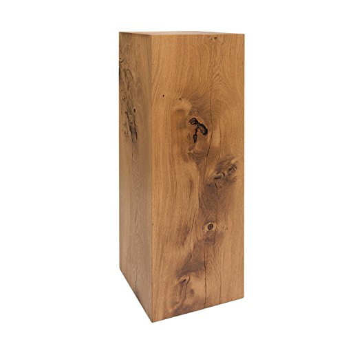 GREENHAUS Holzsäule Eiche Massiv 20x20x60 cm Handarbeit und Massivholz aus Deutschland Dekosäule Holzklotz Holzblock