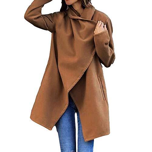 TEBAISE Damen Mantel lang mit Wasserfall-Schnitt Trenchcoat mit Gürtel weicher Dufflecoat Parka Jacke Herbst Winterjacke Mäntel Parka Westen Pullover