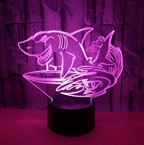 Joplc 3D LED Nachtlichter Shark Light Home Fisch Dekoration Lampe Erstaunliche Visualisierung Optische Täuschung Schreibtisch Tischlampe