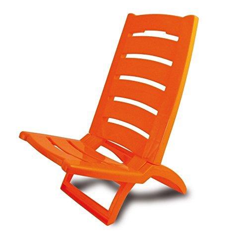 Fauteuil Chaise Pliante de Piscine Plage Mer en Plastique-Orange ...