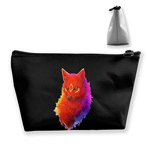 Buntes Wolf-heftiges Auge bilden Beutel-Kulturtasche Reise-Kosmetik-Beutel-Beutel -