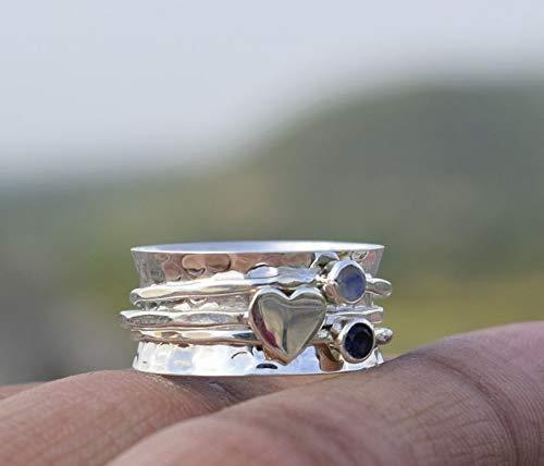 Amethyst und Mondstein Spinner Ring, 925 Sterling Silber Herz Designer Ring, breites Band Ring, gehämmert Meditationsring