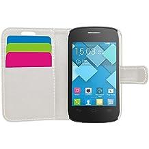 Samrick Ejecutivo Especialmente Diseñado Cuero Suave Estuche Cartera y Tarjetero Para Alcatel One Touch Pop C1 - Blanco (White)