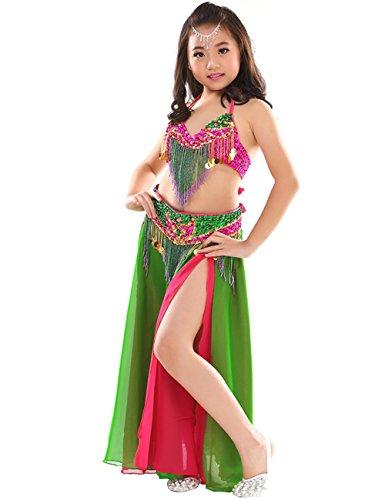 Astage Mädchen Sport-BHs Tanzsport Kleider Kinder Bauchtanz-Set Tanz Kostüm Hotpink+Green