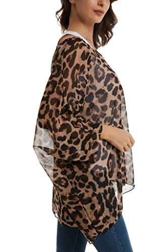 sexylady Damen Bluse Gr. One size, leopard (Scoop Sleeve Neck Batwing)