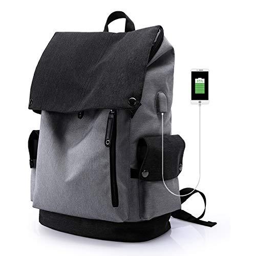 Wind Took USB Anschluss Laptop Rucksack Damen Herren Daypack Schulrucksack für 15,6 Zoll Notebook, Wasserabweisend, Grau