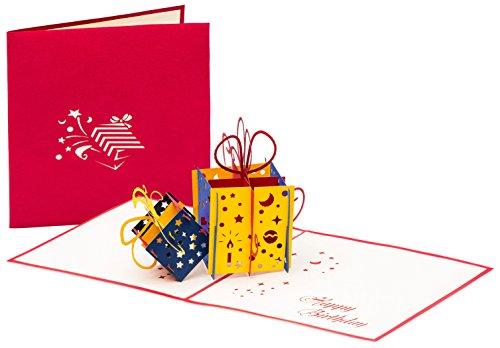 """Geburtstagskarte """"Happy Birthday mit 2 Geschenken"""" 3D Pop up, handgefertigt, Grußkarte, Glückwunsch Karte, Grußkarten, Glückwunschkarten, Geschenkkarte, Karte zum Geburtstag"""