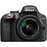 """Nikon D3300 + 18-55 AFP DX VR - Cámara réflex digital de 24,2 Mp (pantalla LCD 3"""", estabilizador, vídeo Full HD), color negro - kit con objetivo 18-55MM AFP DX VR"""