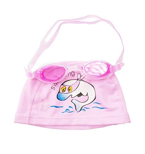 Fourchen occhialini da nuoto per bambini junior da 3 a 15 anni, con anti-nebbia, tappi per le orecchie e cuffia da nuoto per bambini (pink dolphin set)