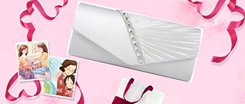 Cloud-Y Borsa Pochette Donna Sacchetto di Sera a Mano Borsetta stile Elegante Dolce Borsa Festa(Dimensione:26*15*5cm) bianca(27×11×5cm)