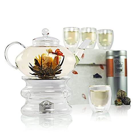 Imperial Flowering Tea Gift Set - Prestige Glass Teapot with Infuser - Teapot Warmer Stand - 4 Glass Cups - Sampler Tin of Blooming Tea (10 Blooms) - Luxury Handmade Gift Box