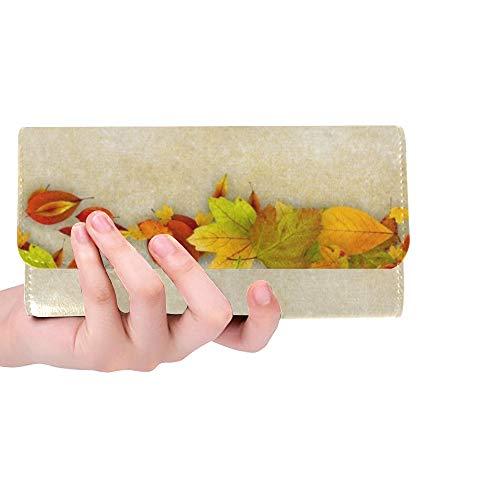 Einzigartige benutzerdefinierte Herbst Blätter Rahmen auf Alten Papierfrauen Trifold Brieftasche Lange Geldbörse Kreditkarteninhaber Fall Handtasche