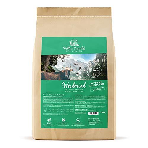 Müllers Naturhof | Weiderind | 2 x 15 kg | Ente & Forelle | Gartengemüse & Wiesenkräuter | Natürlich kaltgepresst | Trockenfutter für alle Hunderassen | Traditionell hergestellt