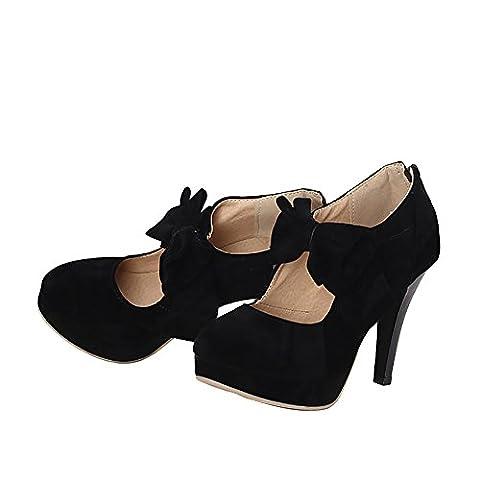 Verocara Women's Fashion Vintage High Heel Bowtie Pumps Platform Party Dress Court Shoes Black 4 UK