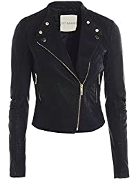 Womens Black Biker Jacket 8 - 16