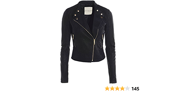 Womens Faux leather Biker Jacket Ladies Black Coat Size 8 10 12 14 16 New
