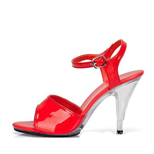 Damen Sandalen mit High Heels Stiletto Schnalle Anti-Rutsch Klassische Bequeme Lässige Damen Sandalen Rot