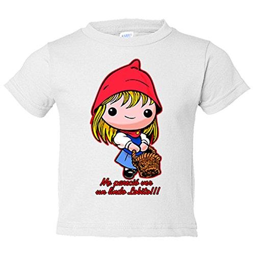 Camiseta niño Caperucita Roja me pareció ver un lindo lobito - Blanco, 5-6 años