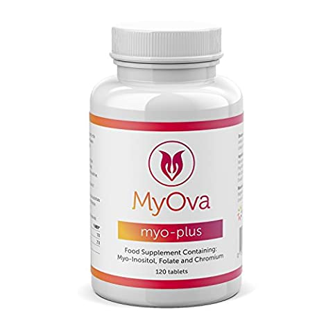 MyOva Myo-Plus natural supplement for PCOS: 4000mg Myo-Inositol + 200ug Folate + 100ug Chromium | Promotes hormonal balance & normal ovarian function | Chromium contributes to normal macronutrient metabolism & the maintenance of normal blood glucose levels | 30 days supply, 120 tablets | MADE IN THE