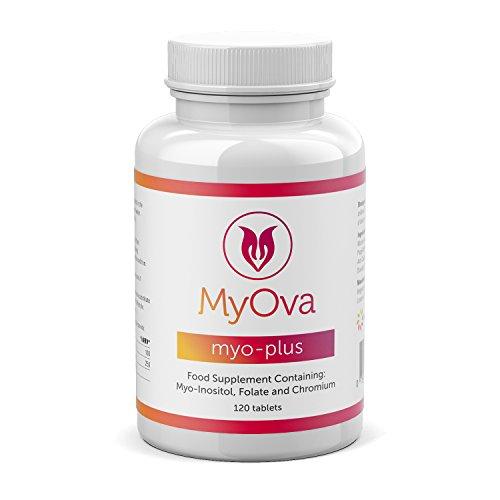 MyOva Myo-Plus - Natürliches Nahrungsergänzungsmittel bei PCOS - 4000 mg Myo-Inositol, 200 µg Folsäure, 100 µg Chrom - 120 Tabletten, Hergestellt im Großbritannien
