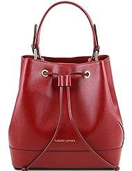 Tuscany Leather - Minerva - Sac secchiello pour femme en cuir 'Saffiano' - Rouge