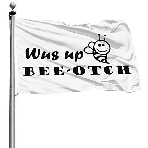 KJTH WUS Up Bee OTCH Drapeau décoratif pour la Maison ou Le Jardin avec Drapeau de 1,2 x 1,8 m, Polyester, Noir, Taille Unique