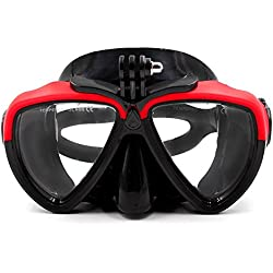 TELESIN amovible en verre de plongée en silicone avec support à vis Combinaison de plongée masque tuba de plongée Lunettes de natation pour caméra de sport GoPro HD Hero 233+ 4 Red&Black
