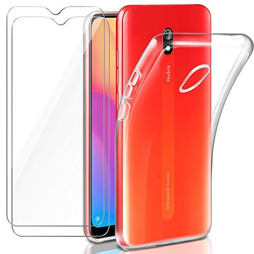"""Capa Leathlux Capa Transparente Xiaomi Redmi 8A + 2 × Película de Vidro Temperado Redmi 8A, Estojos de proteção macios em silicone Capa de gel TPU fina para Xiaomi Redmi 8A 6.2 """""""