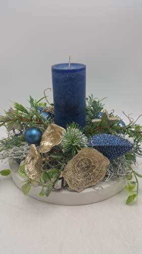 Weihnachtsgesteck Adventsgesteck Weihnachtsdeko Kerze Pilze Kugeln Zapfen blau (Kugeln Blaue Dekorationen)