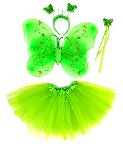 Tante Tina - Schmetterling Kostüm für Mädchen - 4-teiliges Set - Feenflügel / Schmetterlingsflügel Verkleiden - Grün mit Haarreif
