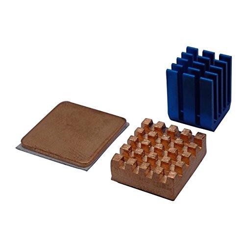 xinfene Dissipateur de Chaleur pour Raspberry Dissipateurs Thermiques en Aluminium pour Raspberry Pi 3,Pi 2,Pi Model B+ (Bleu+Or)