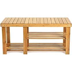 Banco 3 Estanterías Bambú 86 x 28.5 x 45 cm