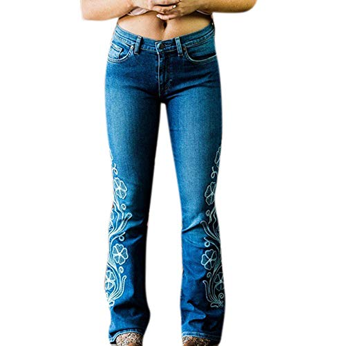 Huateng Damenmode Gestickte Jeans, Slim Fit Flare Jeans mit mittlerer Taille -