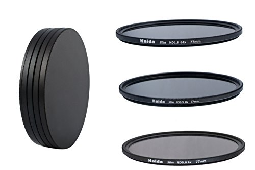 HAIDA Slim Neutral Graufilter Set 77mm - bestehend aus ND4x, ND8x, ND64x Filtern - inkl. Stack Cap Filtercontainer + Pro Lens Cap mit Innengriff