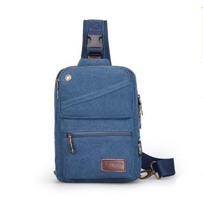 MJ Sac de toile décontracté / afflux de mode de sac à bandoulière / sac Messenger / sac de poitrine créatif pour hommes... Blue