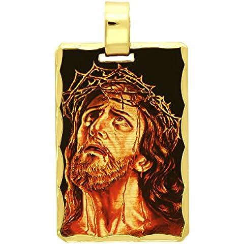 14K oro placcato Gesù Cristo Corona di spine Cameo Mini Ciondolo - Overlay Dog Tag
