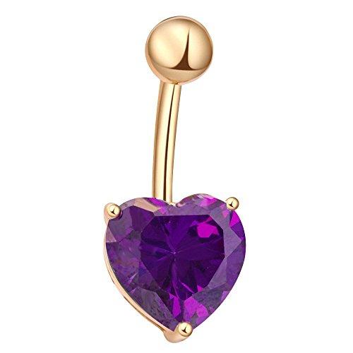 Contever® Púrpura Forma del Corazon Piercing Ombligo Vientre Joyería Acero Quirurgico con Cristal