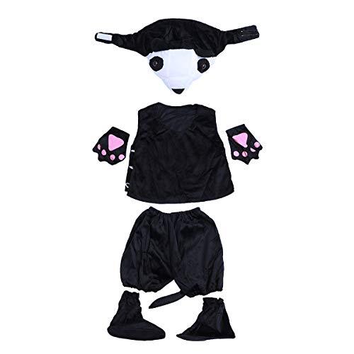 BESTOYARD Panda Cosplay Anzug Halloween Party Masquerade für Kinder Größe L (Kleidung, Mütze, Hose, Handschuhe, Fußdecke)