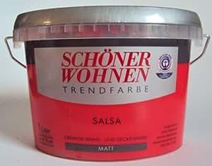 1 L Schöner Wohnen Trendfarbe, cremige Wand- und Deckenfarbe, Salsa Matt