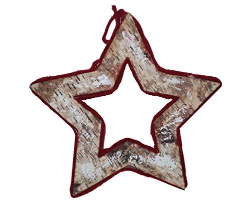 takestop - Estrella de Navidad de Madera - Juego de 2 Piezas de Tela para Colgar con Estrellas y Bolas - Decoración para el hogar - Decoración para Fiestas, Navidad, Estilo Shabby Chic