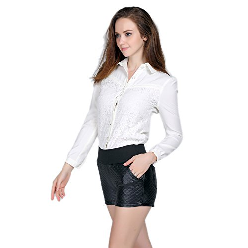 Kurze Sexy Glanz Shorts Hose schwarz Rautenmuster bis Taille Schwarz
